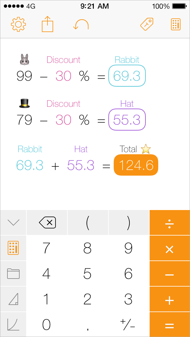 Tydlig iPhone screenshot, calculating discount