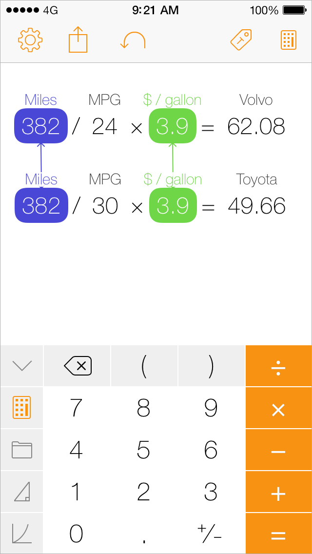 Tydlig iPhone screenshot, calculating gas
