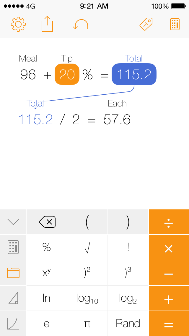Tydlig iPhone screenshot, calculating tip